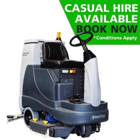 Hire of Nilfisk BR855 Battery Powered Ride-On Scrubber Dryer